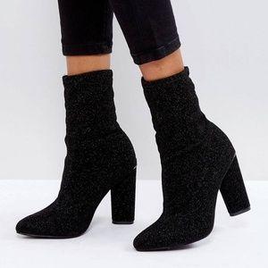 Glamorous Black High Sock Heeled Ankle Boots
